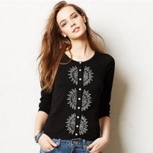 Anthropologie HWR Monogram Black Sunburst Cardigan